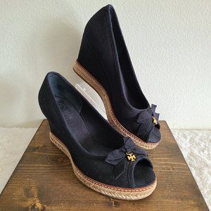 Tori Burch Jackie Wedge Espadrille Black Sandal